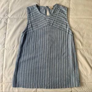 JCREW Size 6 Blue and White Striped Tank Top